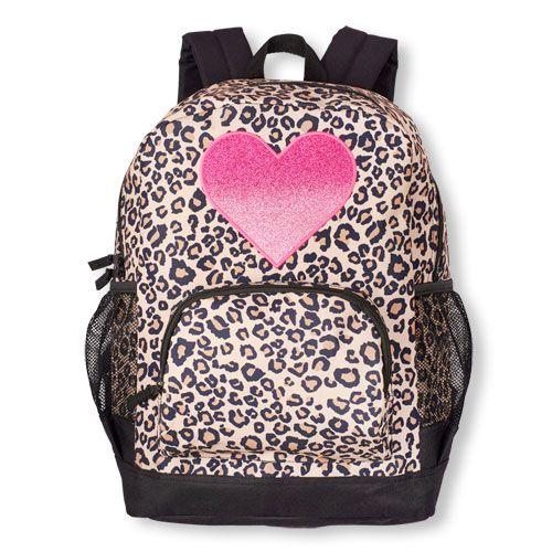 Girls Glitter Heart Leopard Print Backpack