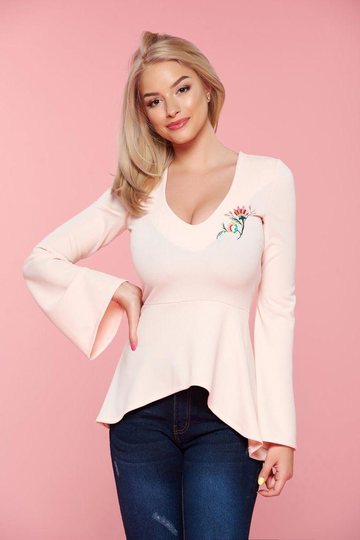 Comanda online, Bluza dama brodata cu decolteu StarShinerS rosa cu maneci clopot. Articole masurate, calitate garantata!