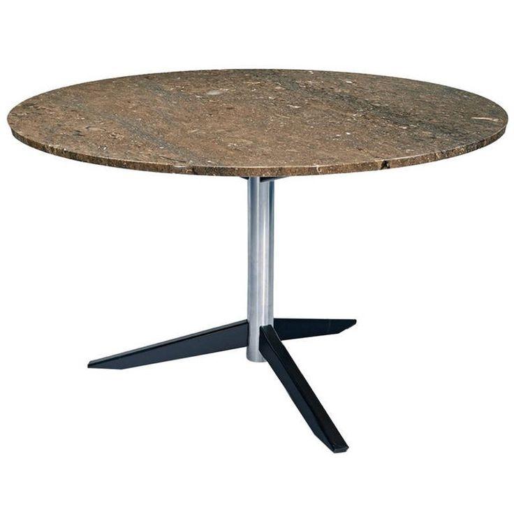 round italian mid century marble dining table: round white marble dining table