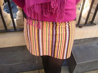Bright stripes cord skirt - handmade by Rebekah