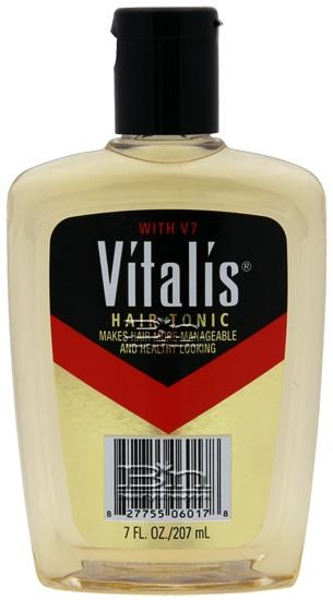 Vitalis Hair Tonic. Can't believe we used to smear this stuff in our hair!  Made it the greasy look and kept our hair in place.