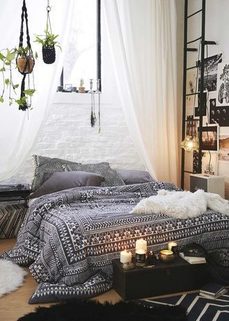 Home Accessory Bedding Bedroom Drap Chambre Aztec Hippie Cute Beach House Bedsheet Boho Indie Duvet Tumblr Style Black White Comfy