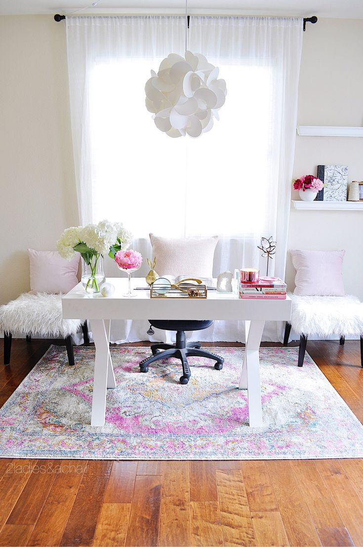 Pink has personalized my home office. This would otherwise be a mundane white home office space. Shopping at HomeGoods changed that! The textured stools, pink pillows, and fun desk accessories make it a special space for me. Sponsored by HomeGoods