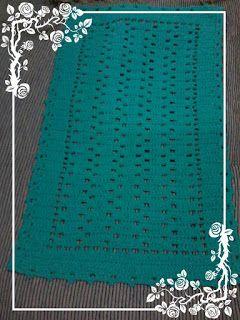 Croch'Ellie Artesanato: Tapete Retangular na cor Verde-Água Escuro