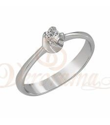 Μονόπετρo δαχτυλίδι Κ18 λευκόχρυσο με διαμάντι κοπής brilliant - MBR_014