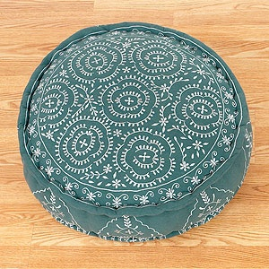 Porcelain & Jade Round Embroidered Floor Cushion: For Kids, Floors Sit, Apartment, Jade Round, Floors Cushions, Embroidered Pillows, Floors Pillows, Floors Poufs, Embroidered Floors