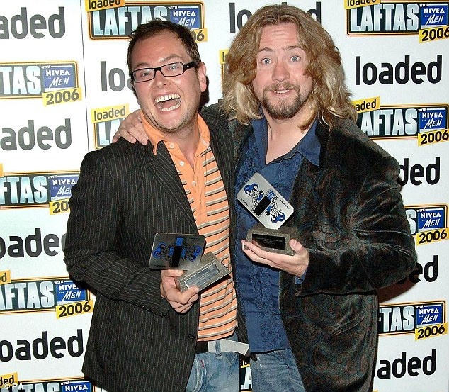 Alan Carr and Justin Lee Collins [GOOD TIMES] before JLC was mugged off by a vengeful ex. Even JLC's ex wife of 9 years said he'd never hurt her and wouldn't hurt anyone.