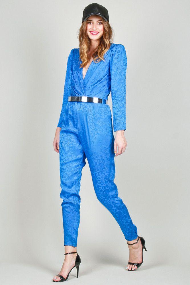Electric Blue Floral 80s Silk Jumpsuit $75 | Ela Hawke Vintage ...