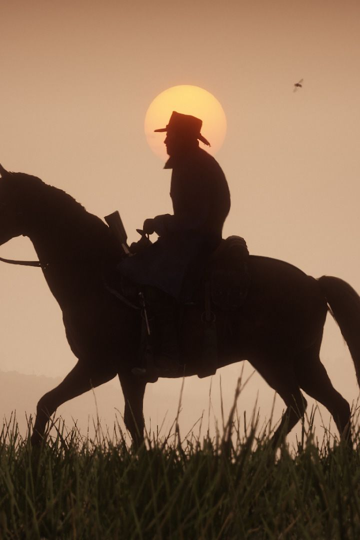 Red Dead Redemption 2, video game, horse ride, sunset