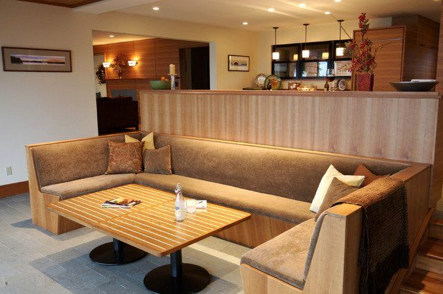 Contemporary living room wood sofas build banquette bar for Built in booth