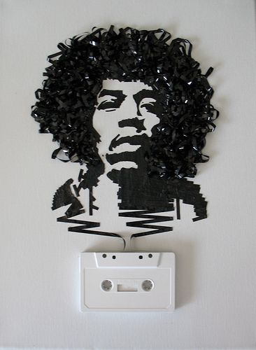 """Amazing! Image of Jimi Hendrix created with casette tape ribbon. """"Ghost in the Machine: Jimi Hendrix by iri5, via Flickr"""""""