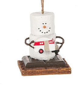 S'mores Original Snowman Ornament holding a vintage camp trailer.