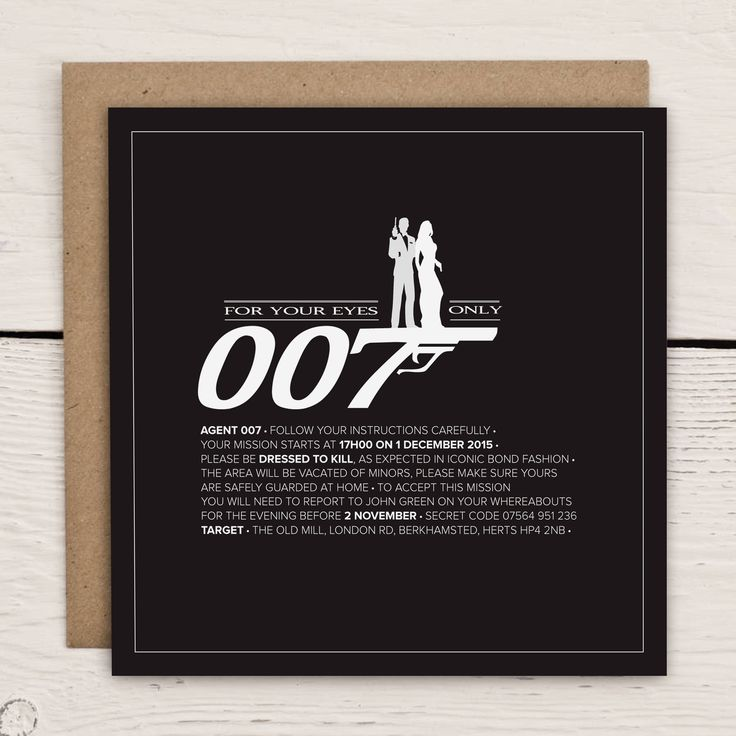 James Bond 007 themed invitation                                                                                                                                                                                 More