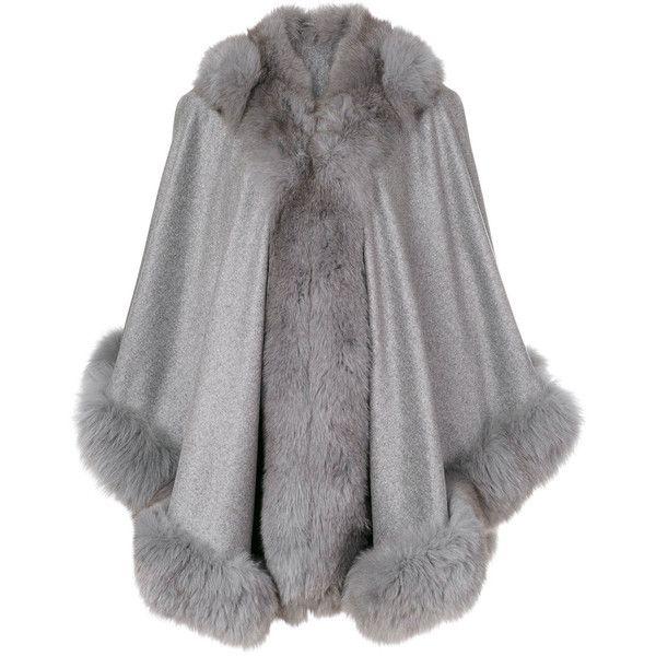 Liska fur trim cape ($2,230) ❤ liked on Polyvore featuring outerwear, grey, liska, fur trimmed cape, fur trimmed cape coat, grey cape and cape coat