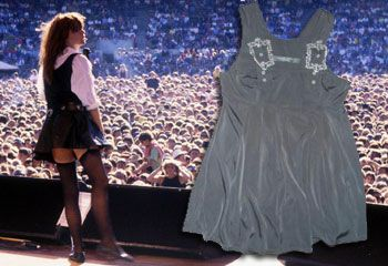 Chrissy Amphlett on stage with the Divinyls and (inset) the box-pleated tunic now up for auction on eBay. Source: The Daily Telegraph