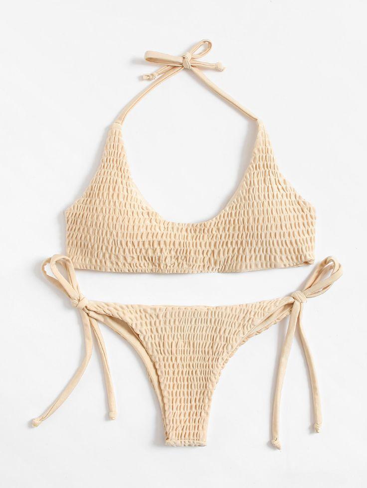Shop Shirred Tie Side Bikini Set  online. SheIn offers Shirred Tie Side Bikini Set  & more to fit your fashionable needs.