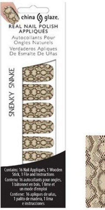 CHINA GLAZE REAL NAIL POLISH APPLIQUES STICKERS- SNEAKY SNAKE