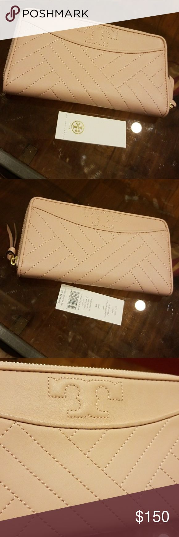 Alexa Zip Continental Wallet Preloved with tag Great condition! Dark Pink Quartz Tory Burch Bags Wallets