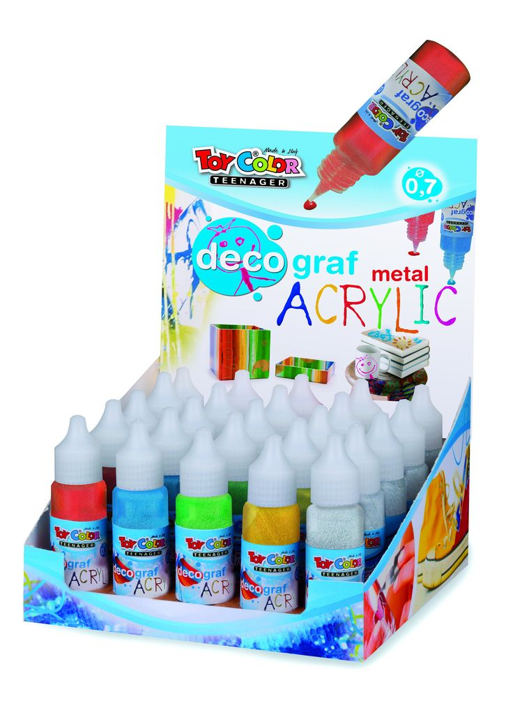 Tempera acrilic metalizata decograf 25ml Toy Color. Setul este compus din 30 de sticlute si este format din 6 culori a cate 5 sticlute. http://www.dacris.net/set-tempera-metalizat-decograf-25ml-toy-color