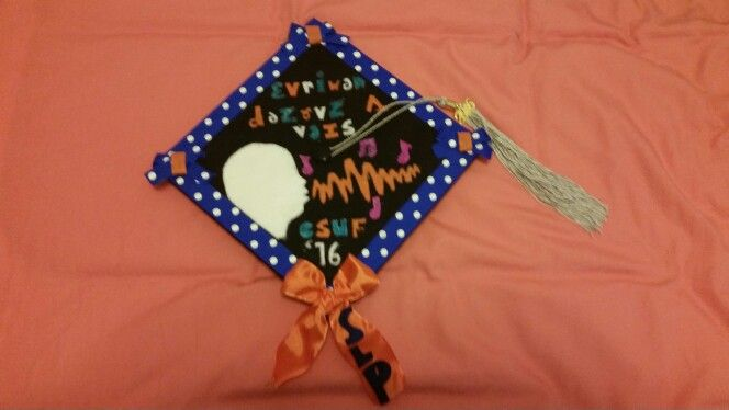 Cap design for my graduation cap! Bachelors in speech pathology and a minor in music from cal state fullerton!