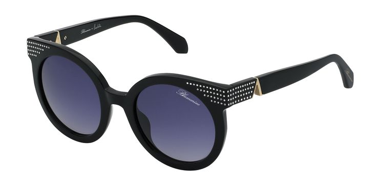 Blumarine Spring Summer 2016 Eyewear by Anastacia • Round Shaped Sunglasses With Swarovski Crystals. – This acetate black model has a rounded shape. A cascade of Swarovski crystals enlightens the front and the temples, enriched by Anastacia personal A as a golden trim. Lens are grey gradient.• Products with selling limitations in specific countries. For further info please contact De Rigo: infoblumarinebyanastacia@derigo.com #BlumarinebyAnastacia #Anastacia