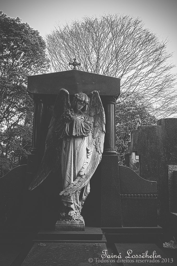 """Angels Call To me..."" Araçá, São Paulo. Cemiterio, Cemetery, Brasil, Brazil. Black and White Photography"