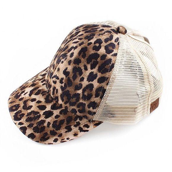 929ac06db Leopard print CC ponytail messy bun baseball cap CC Exclusive ...