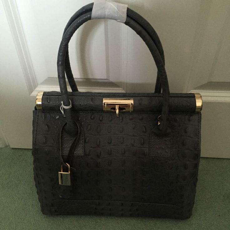 Handbag Leather Made in Italy- Grey