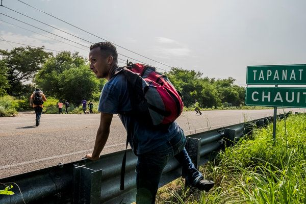 February 8, 2016 DANIEL BEREHULAK FOR THE NEW YORK TIMES Central Americans, avoiding the immigration police, crossed a road in southern Mexico in early November.
