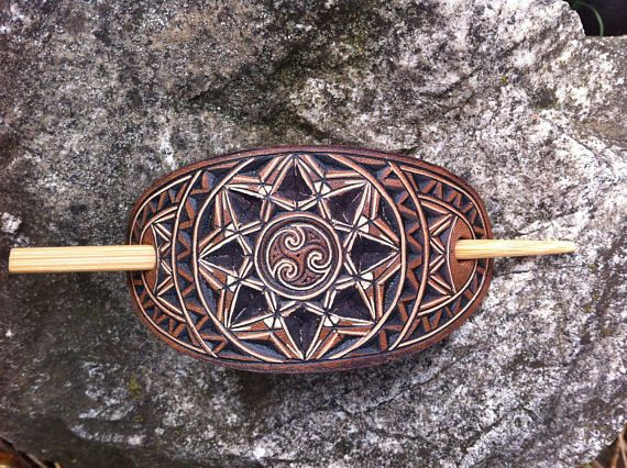 Celtic spiral hand carved leather hair barrette  tooled