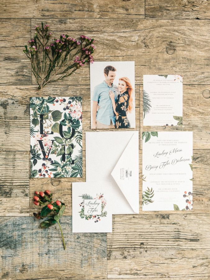 Botanical inspired wedding invitation suite: http://www.stylemepretty.com/little-black-book-blog/2016/02/11/intimate-sweet-lombardi-house-summer-wedding/ | Photography: Steve Steinhardt - http://www.stevesteinhardt.com/