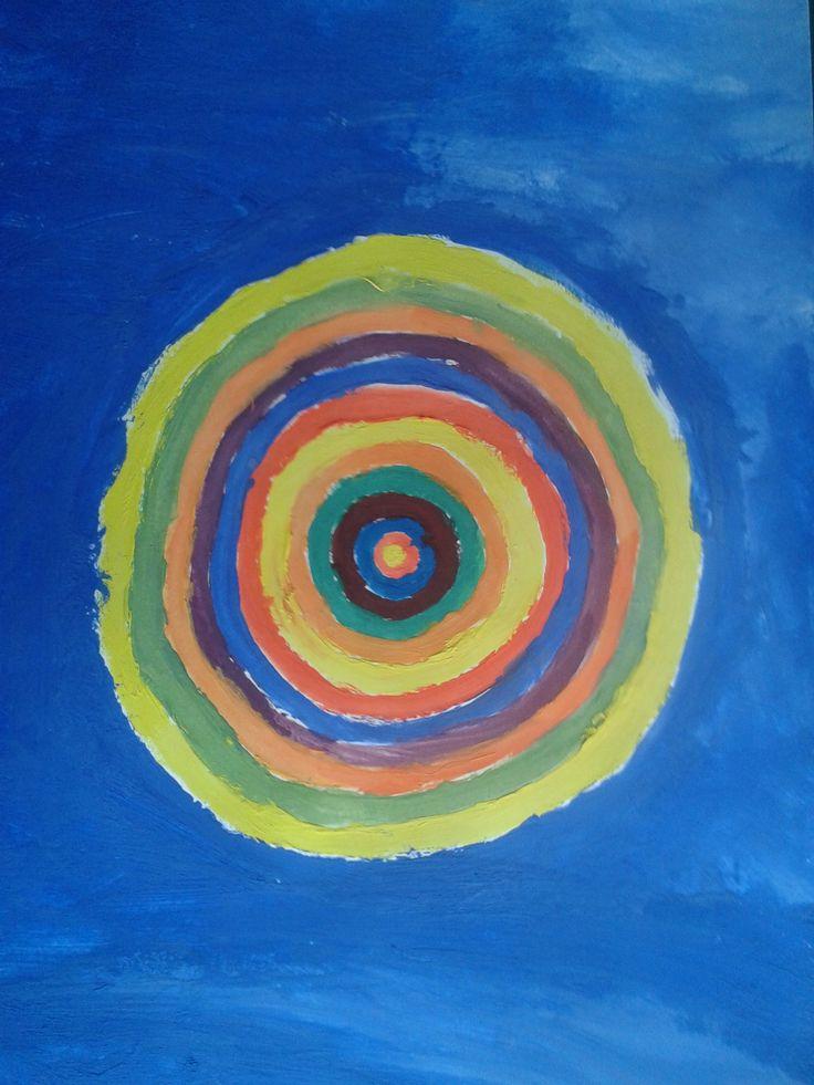 Kręgi barw czystych. Tempera na papierze. Praca Joasi.