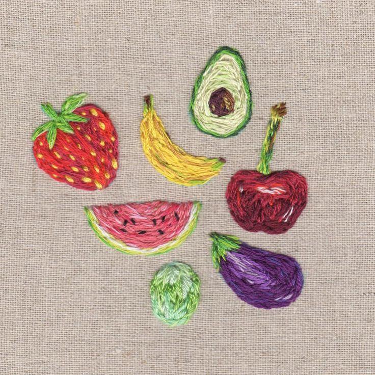 I think I hate fruit right now aha #embroidery #fruit #illustration