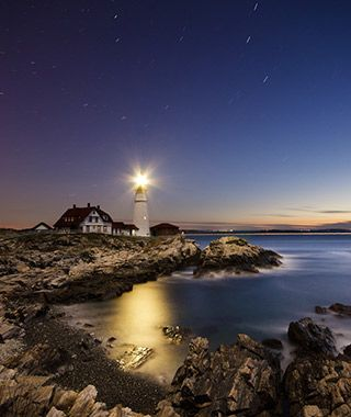 Portland Head lighthouse, in Cape Elizabeth, was commissioned by George Washington and first lit in 1791.