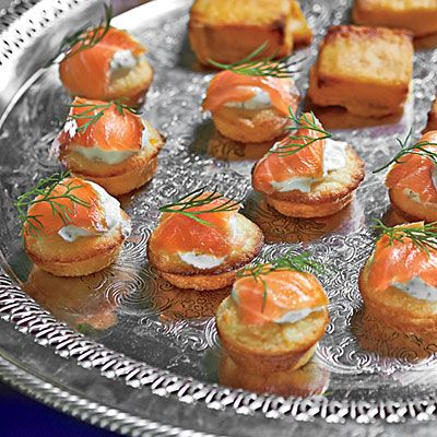 Mini Corn Cakes with Smoked Salmon and Dill Crème Fraîche - Best Party Appetizers and Recipes - Southern Living