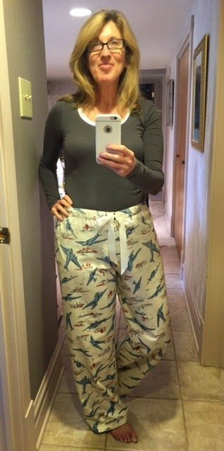 The free pajama pant pattern from Martha Stewart. Easy to make and easy to wear.