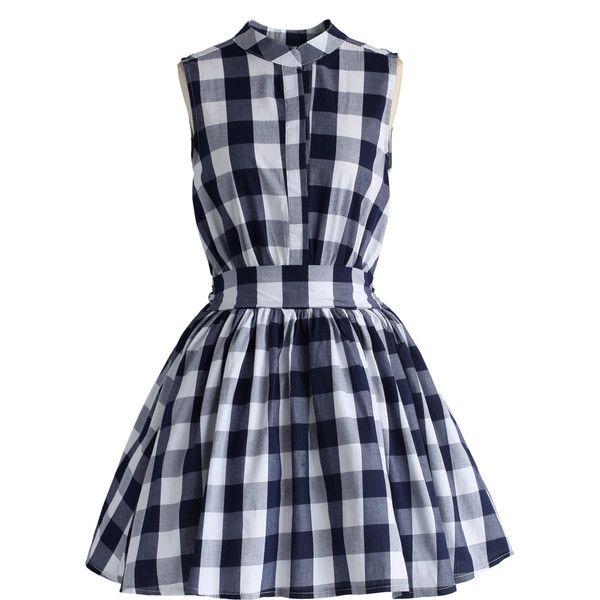 Chicwish Sassy Flare Check Print Dress ($45) ❤ liked on Polyvore featuring dresses, vestidos, multi, layered dress, tartan plaid dress, elastic waist dress, checked dress and tartan dress