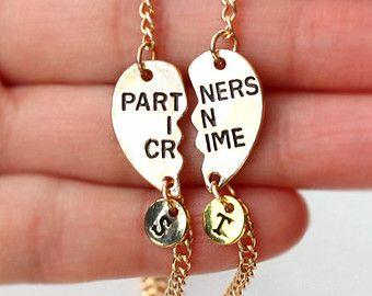 PARTNERS IN CRIME bracelet, initials friendship bracelet set, best friends, best bitches, broken heart set, sisters gift jewelry