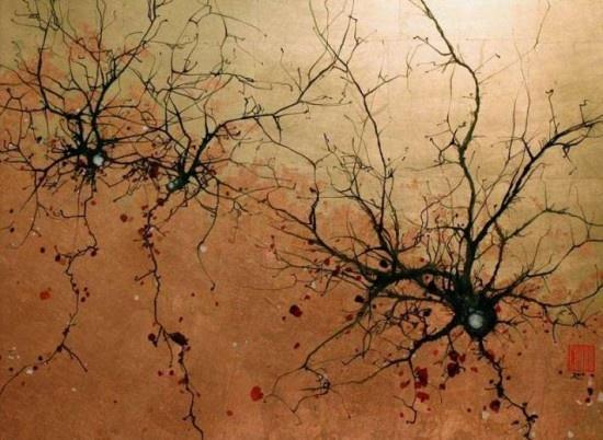 Neuroscientist/Painter Greg Dunn paints beautiful sumi-e style representations of neurons.