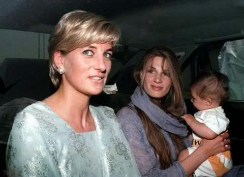 May 22, 1997: Diana, Princess of Wales visiting the Shaukat Khanum Cancer Hospital founded by international cricketer, Imran Kahn, husband of Jemima (Goldsmith), a friend of Diana's pictured here with her son Suliaman.