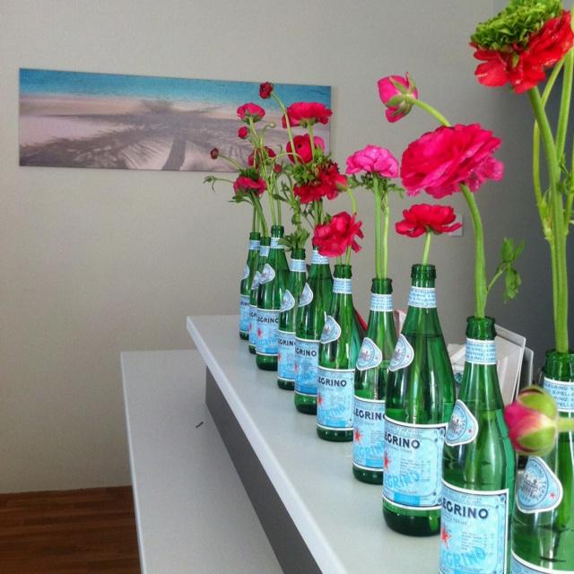 Ranuncs in San Pellegrino bottles in my kitchen