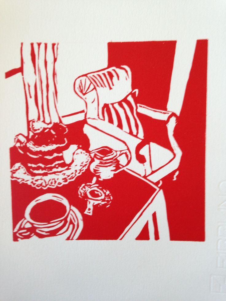 """Tea at Nanna's"" Linocut on silk cut , hand carved print on paper"