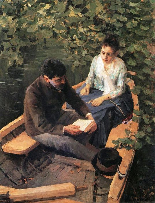 "Konstantin Korovin (1861-1939.) ""IN A BOAT"" (Portrait of the Artist Maria Yakunchikova and Self-Portrait.)"" 1888. Tretyakov Gallery, Moscow, Russia."