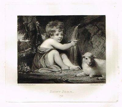 Mezzotint Proof - SAINT JOHN - by Joshua Reynolds - Antique Print - c1820