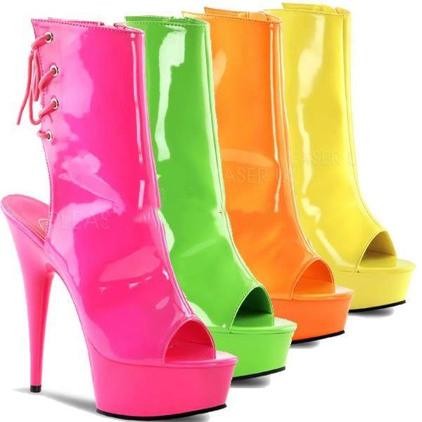"""Яркие лакированные полусапожки стрипы Delight-1018UV с открытым носком, без задника, на конусовидном каблуке и платформе Бренд: Pleaser - США Высота каблука: 15,2 см Высота платформы: 4,4 см Цвет: розовый, салатовый, оранжевый, жёлтый Актуальная цена, выбор цвета и размера, заказ в интернет-магазине """"Золушка"""": http://zolushka777.com.ua/products/delight-1018uv_nhpnk Заказ у производителя - каждый четверг Срок доставки - 2 недели #стрипы #полусапожки #pleaser #клубнаяобувь #exoticpoledance…"""