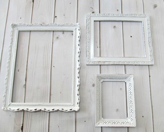 picture frames vintage ornate white baroque set of 3 frames wedding frames baby nursery decor on etsy 5899 baby girl nursery pinterest baby - White Vintage Picture Frames