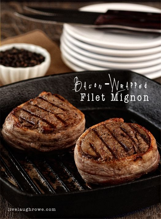 Bacon and steak lovers, rejoice! Check out this bacon-wrapped filet mignon recipe from Kelly Rowe, made in a Lodge cast iron square grill pan!