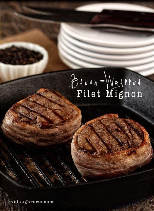 Perfect Seasoned Bacon-Wrapped Filet with livelaughrowe.com #filetmignon #steak