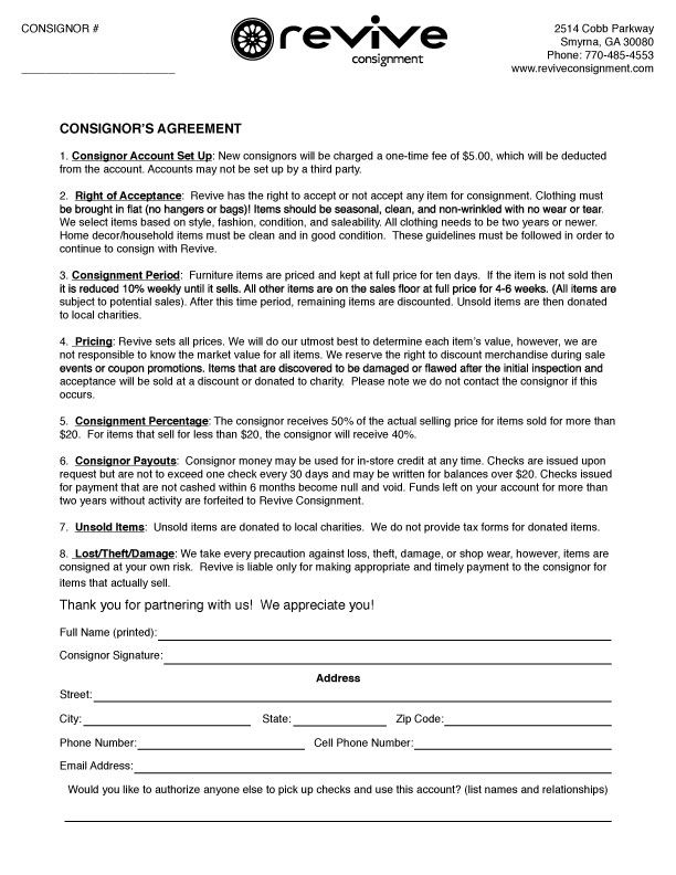 Consignor agreement revive consignment your attitude for Consignment shop contract template
