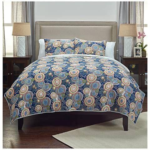 Bohemian Indigo Cotton Quilt - #9X821   Lamps Plus